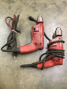"""2 MILWAUKEE 0234-1 Magnum Hole Shooter Corded Electric Drills 1/2"""" Chuck"""
