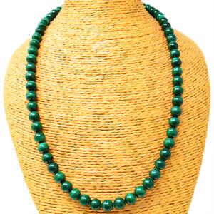 415.00 Cts Natural Single Strand Malachite Round Shape Beads Necklace NK-52E255