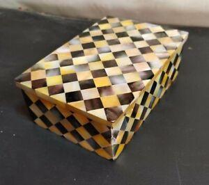 "7"" x 5"" Marble Jewelry Storage Box Semi Precious Stones Work Home Decor gift"