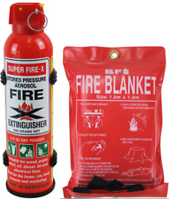 Fire Extinguisher Portable 500 Gram Dry Powder ABE + Fire Blanket Car Caravan