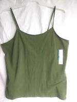 Time and Tru Women's Olive Green and Gray Fitted Scoop Neck Cami Tank Tops L,3XL