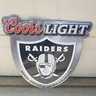 Coors Light Oakland Raiders beer NFL Sign Tin Vintage