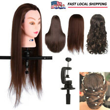 24'' Human Hair Training Practice Head Mannequin Hairdressing + Clamp Holder