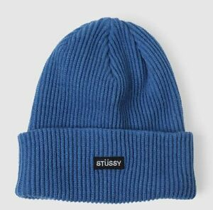 Stussy Small Patch Watchcap Beanie Blue 132988 Sealed Package Sold Out