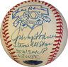 Johnny Podres Signed Jackie Robinson 50th Anniv 3 stat Baseball Dodgers CBM COA