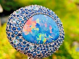 Vintage 25 TCW MASSIVE Australian Black Fire Opal Brooch (pendant) 270 Sapphires