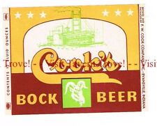 Unused 1960s INDIANA Evansville COOK'S BOCK BEER 12oz Label