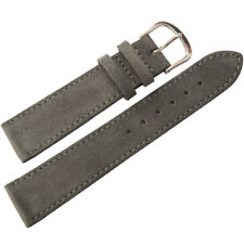 20mm Mens Fluco Dark Grey Suede Leather Made in Germany Watch Band Strap