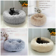 S/M/L Luxury Plush Calming Pet Bed Fluffy Soft Donut Nesting Anxiety Dog Bed