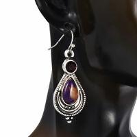 Popular Boho Purple Copper Turquoise Hook Earrings 925 Silver Dangle Earring CN