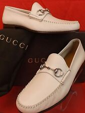 NIB GUCCI HEBRON MYSTIC WHITE LEATHER SILVER HORSEBIT LOAFERS 10.5 11.5 #367926