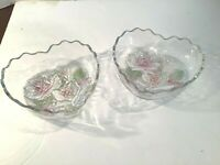 MIKASA Rose Pearls 2 pc Heart Shaped Glass Candy Dish Bowl Embossed Pink Roses