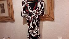 Stella Red Black Silver White Silky Stretch Ruched Dress Size 10