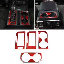 Red Interior Water Cup Holder+Gear Box panel Cover Trim For Ford F150 2015-2018