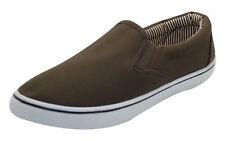 Mens Canvas Shoes Slip on Casual Comfortable Deck Plimsoll Slider Trainer PUMPS Olive - Khaki UK 11/eu 45