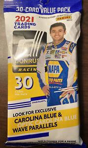 2021 Donruss Racing Value Fat Pack 60 Cards NASCAR Carolina Blue Wave Parallels