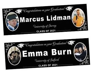 2 personalised photo school leavers banner university college graduation party