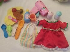 assorted Fisher Price Little Mommy baby doll accessories lot bottle food mixed