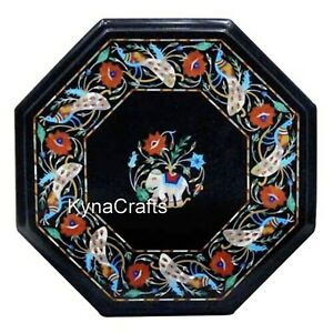 16 Inches Marble Coffee Table Top Elegant Patter Bed Side Table for Living Room