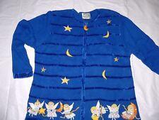 Quacker Factory Cardigan Sweater Christmas 1X Blue Angel Star Zip Front Beaded