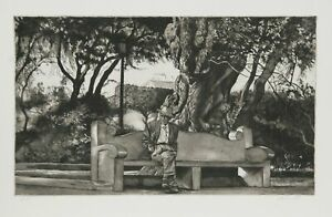 Harry McCormick, Man on Bench (B & W), Aquatint Etching, Signed and numbered
