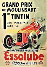 Tintin Grand prix de Moulinsart Masérati -Essolub - affiche plastifiée