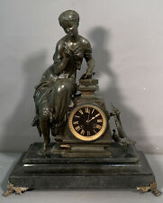 19thC Antique H&K Old French Paris Bronzed Old Lady Statue Figural Mantle Clock