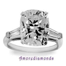 1.9 ct H SI1 cushion baguette natural diamond 3 stone engagement ring platinum