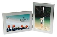 "2 Picture Silver Double Folding Multi Aperture Collage Photo Frame 6x4"" Gifts"