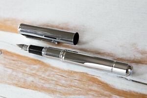 Birmingham/Knox Plato Fountain Pen Silver Chrome Med #5 German Jowo Steel Nib