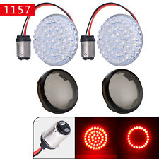 Bullet-style 1157 Rear LED Turn Signals Lights+ Lens Cover for Harley Motorcycle