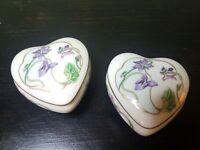 Vintage Porcelaine Limoges Castel France Heart Porcelain Iris Trinket Boxes (2)