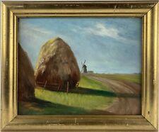 Ölbild Sommerlandschaft mit Heu und Windmühle Anonym Vintage 20er Jahre Antik