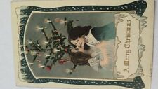 Vintage Post Card Christmas Tree Girls