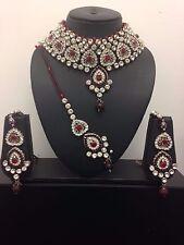 Latest Indian Bollywood Red Maroon Silver Beaded Chokar Jewellery Necklace Set