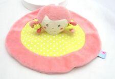 Sucre d'Orge doudou rond poupée plat velours rose et tissu vert à pois 23cm