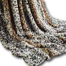 Leopard Skin Rabbit Faux Fur Throw Super Soft Blanket Soft Warm Bed 200 x 240cm