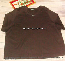 New Ulla Popken Womens Plus Size 5X 32 34 Stud Brown Shirt Top Blouse S/S Cotton