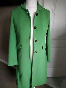 J Crew Wool Coat In Retro Green Vintage RARE ! Size 4 UK 10 Peter Pan Collar