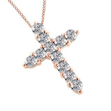 Round D/Vvs1 Cross Pendant Cross Necklace 14K Solid Rose Gold 1.00Ct Prong Set