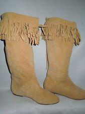 Daniblack fringed beige Suede Leather flat heel Boots sz 6.5   / 6 1/2