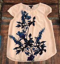 J.CREW 4 Peach Blouse with Blue Flower detail