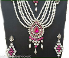 INDIAN VINTAGE JEWELLERY SET SILVER PLATED CERISE CLEAR PEARLS NEW - AQ/120