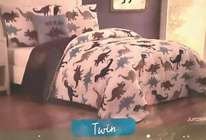 WONDER STUDIO 3 PC. SET DINOSAUR COMFORTER TWIN SZ BLUE BROWN ROAR PILLOW SHAM