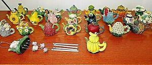 "LOT OF 25 Mini Teapots Resin Floral Fruits & Windchime Display Decor 2"" Tall"
