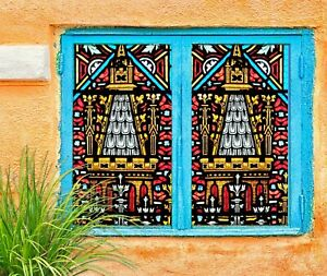 3D Art Building I317 Window Film Print Sticker Cling Stained Glass UV Block Amy