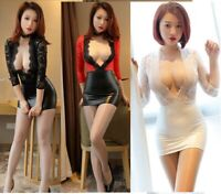 Women's Deep V Neck Party Dress Lace TOP PU Leather Mini Skirt Bodycon Nightclub