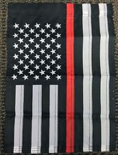 12x18 American US Red Line Firefighter Lives Matter Embroidered Garden Flag USA