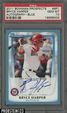 2011 Bowman Blue Bryce Harper RC Rookie AUTO /250 Nationals PSA 10 GEM MINT