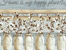 Home Is My Happy Place strip stripe jars cotton blossoms C7176 durable Fabric